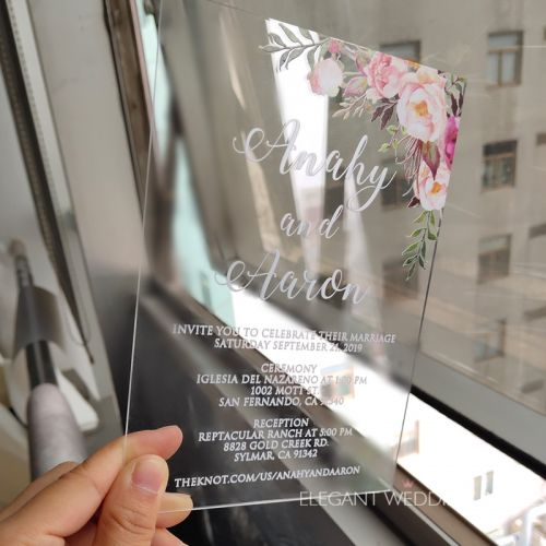 boho blush floral Acrylic wedding invitation thickness 2mm with UV printing EWIA002-1