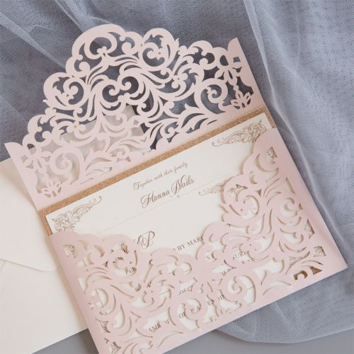 Cordially Inviting – blush shimmer laser cut sleeve with classic invitation and glittery backer EWWS240