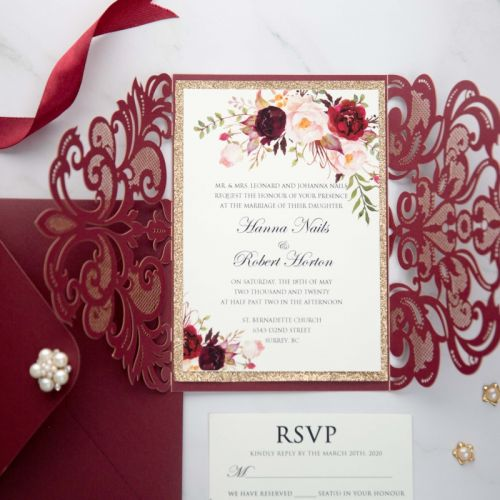 burgundy laser cut wedding invitation with floral and glittery belly band and backer EWWS273-1