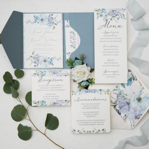 dusty blue pocket wedding invitations with elegant blue floral pattern and wax seal sticker EWPI230