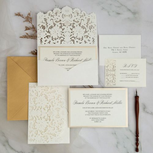 elegant ivory laser cut wedding invitations with mirror gold backers EWTS075-1