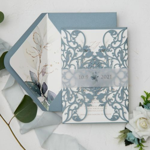 elegant dusty blue laser cut warps with greenery monogram wedding invitation and belly band EWWS304-1