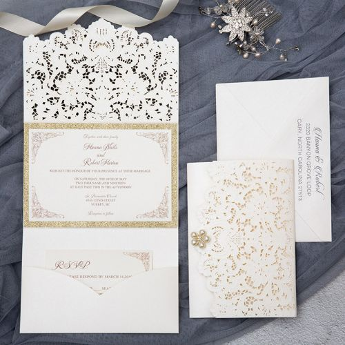 elegant ivory and champagne gold glittery wedding invitations with pearl EWWS226