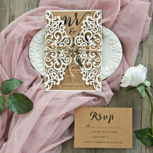 elegant rustic laser cut wedding invitation set with twines and key EWWS220