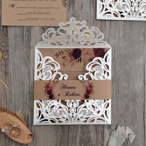 floral patterned ivory laser cut rustic wedding invitation EWWS023