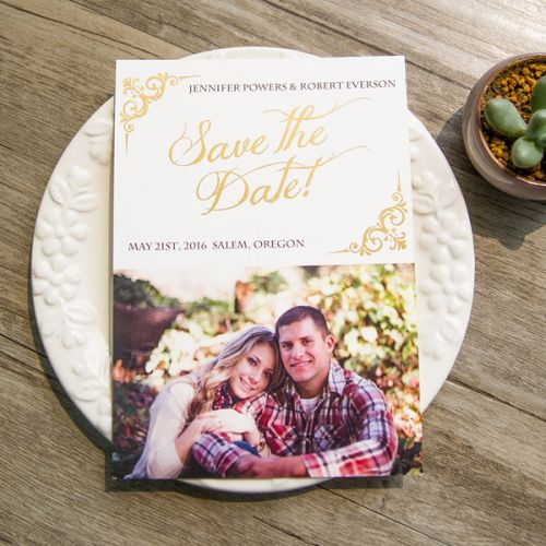 foil photo save the date cards for wedding EWSTD052