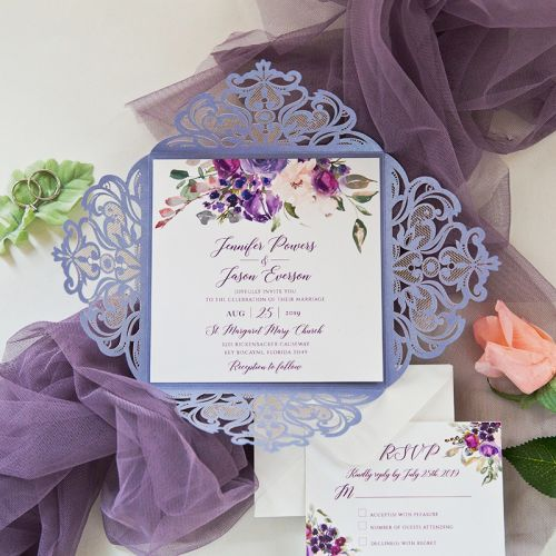 Lavender Laser Cut Fold with Purple and Blush Florals on Invitation EWDK010-1