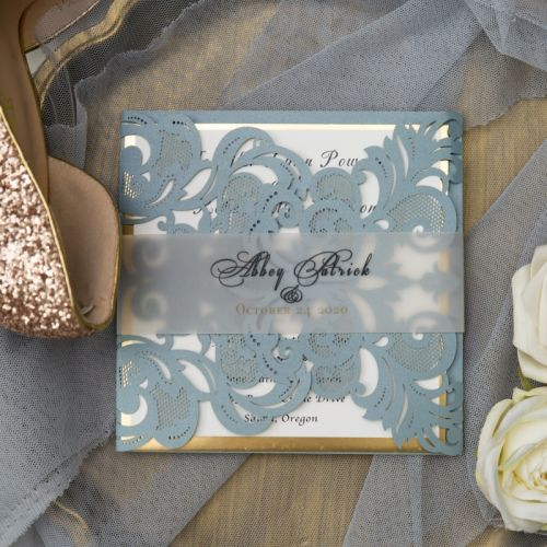 chic and modern dusty blue laser cut wedding invitations with transparent belly band EWWS307