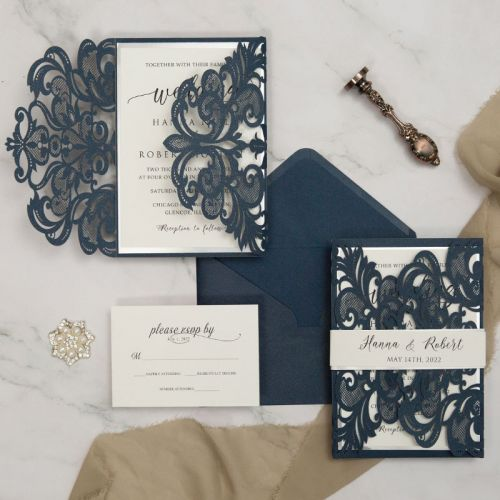 navy laser cut wedding invitation with silver mirror belly band and backer EWWS287-1