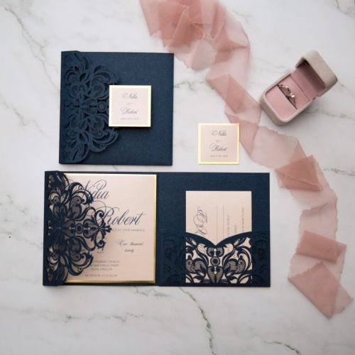 navy sparkly laser cut pocket fold with modern blush invitation and mirrored backer EWWS266