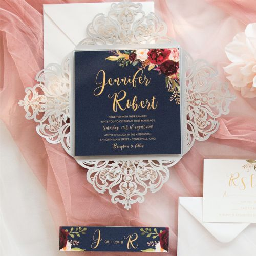 silver laser cut fold with navy invitation and burgundy floral with belly EWWS242