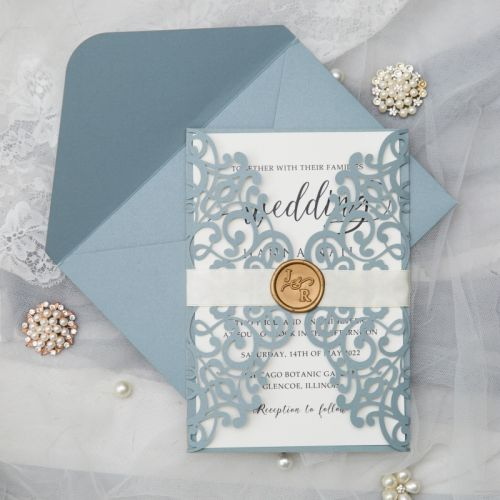 simple dusty blue laser cut wraps with calligraphy wording and ivory ribbon EWWS305