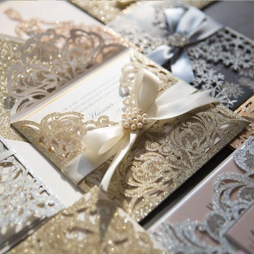 stunning champagne glittery laser cut wedding invitation with gold mirror paper and ivory ribbon EWWS299-1