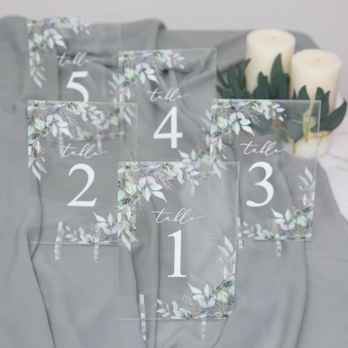 Wedding Table Numbers-Acrylic Table Numbers Watercolor Gold Leaves-EWSGT014