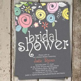 Printable spring country floral bridal shower invitations online EWBS049