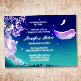 fairytale blue and purple invitation cards for engagement party EWEI004-1