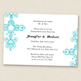 tiffany blue damask simple and elegant engagement party invitations EWEI005