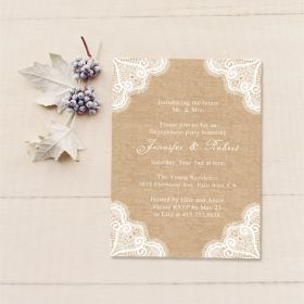 lace and burlap country rustic invitations for engagement parties EWEI006