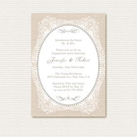 vintage lace and burlap printed engagement party invitations EWEI007