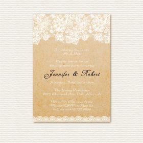 elegant lace printed rustic custom engagement party invitations EWEI008