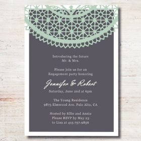 mint green lace printed cheap engagement party invitation cards EWEI009-1