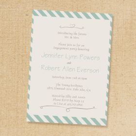 mint green striped engagement party invites affordable EWEI010