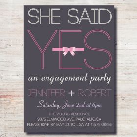 pink and gray simple engagement party invitations EWEI011