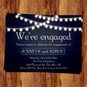 rustic outdoor chalkboard cheap engagement party invitation cards EWEI014