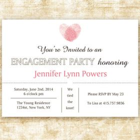 pink fingerprint custom discount engagement party invites EWEI015
