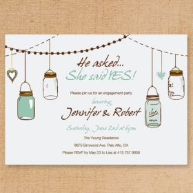 country rustic mason jars engagement party invitations EWEI016