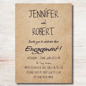 simple rustic personalized engagement party invitation cards EWEI017