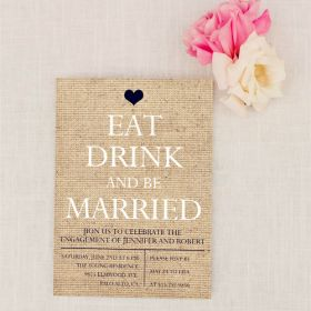 printed burlap rustic invitation cards for engagement party EWEI019