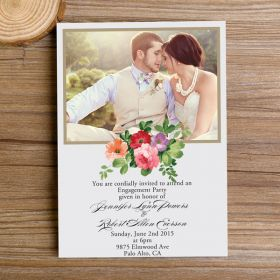 inexpensive rustic photo floral engagement invitations EWEI024