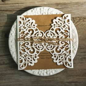 rustic kraft paper laser cut invitations with twines EWWS071-1