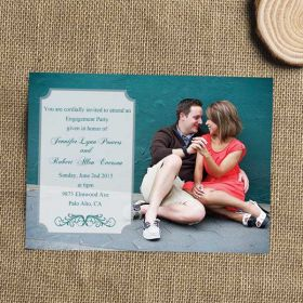 modern teal photo engagement invitation EWEI025