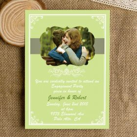 affordable green spring photo engagement invitations EWEI026