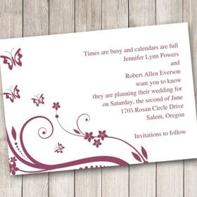 Cheap purple and butterfly save the date cards EWSTD005