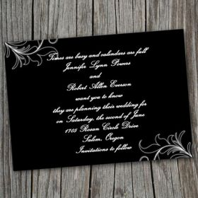 Simple black and white damask save the date cards EWSTD006