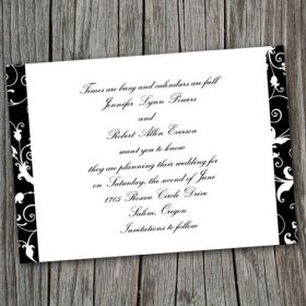 Vintage black and white damask save the date cards EWSTD007