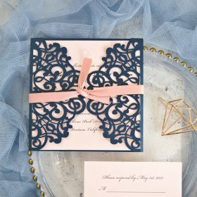 classic navy blue blush pink laser cut wedding invitation EWWS072-1