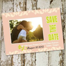 affordable soft pink photo save the date cards EWSTD019