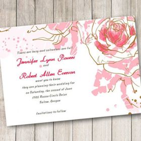 affordable pink roses save the date cards EWSTD022