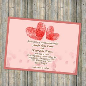 red heart shaped finger print save the date cards EWSTD027