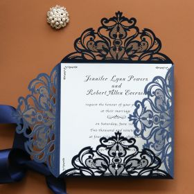 graceful navy blue laser cut wedding invitation EWWS030-1