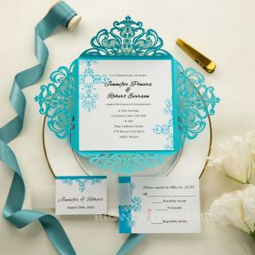 tiffany blue swirl laser cut wedding invitation kits EWWS115-1