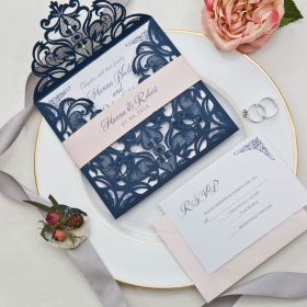 navy blue laser cut wedding invitation with blush pink belly band EWWS118-1