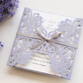 romantic lavender laser cut wedding invitations with grey ribbon bows EWWS124-1
