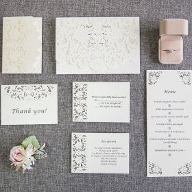 romantic white laser cut wedding invites with matching enclosure cards EWWS132-1