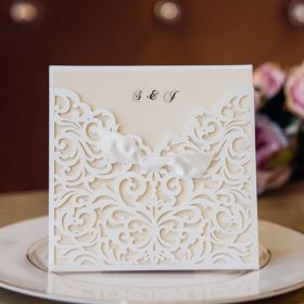 white laser cut pocket ribbon bow invites with matching enclosure cards EWWS134-1