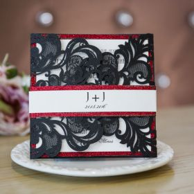 luxurious black laser cut wedding invites with glittery bottom cards and bands EWWS135